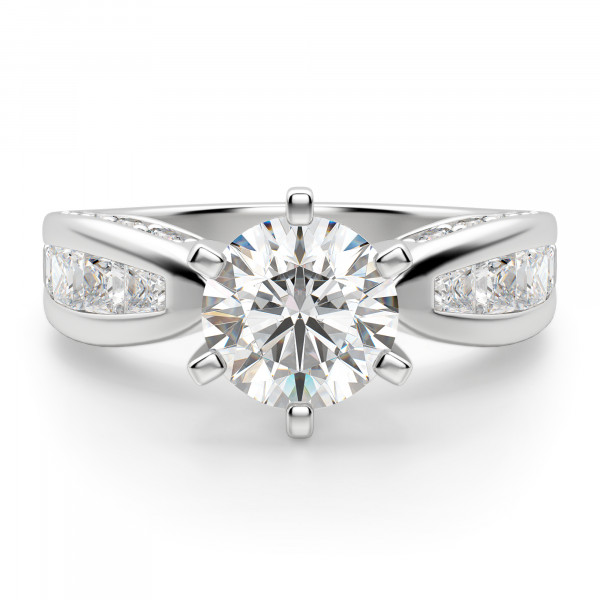 Deco Round Engagement Ring