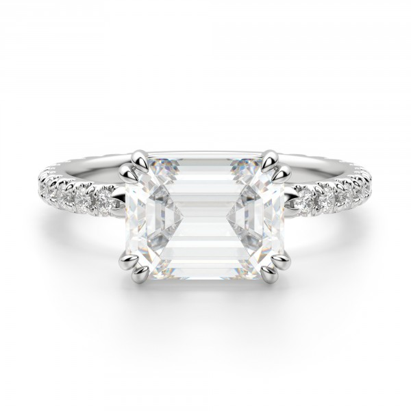 East-West Accented Emerald Cut Engagement Ring