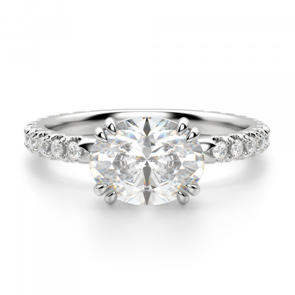 East-West Accented Oval Cut Engagement Ring