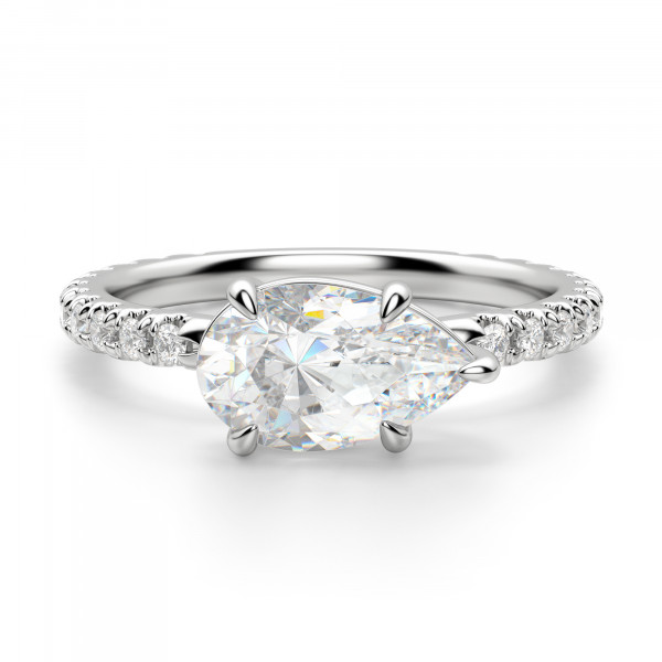 East-West Accented Pear Cut Engagement Ring