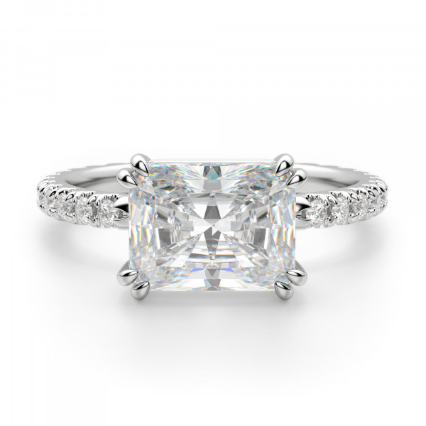 East-West Accented Radiant Cut Engagement Ring