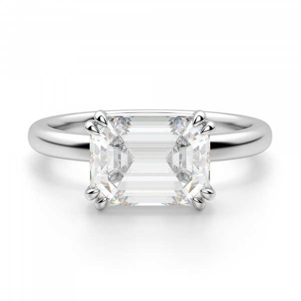 East-West Classic Emerald Cut Engagement Ring