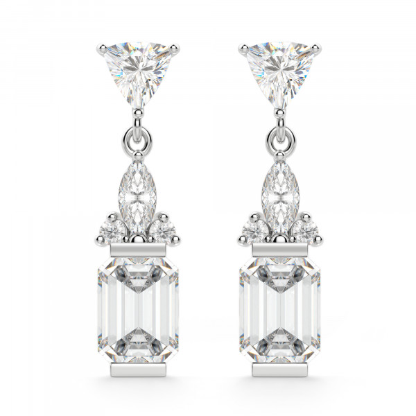 Iris Emerald Cut Drop Earrings