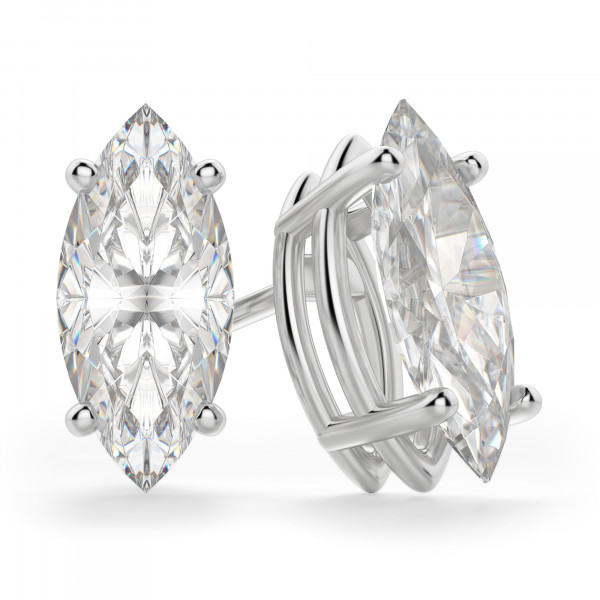 Marquise Cut Stud Earrings, Tension Backs, Basket Set