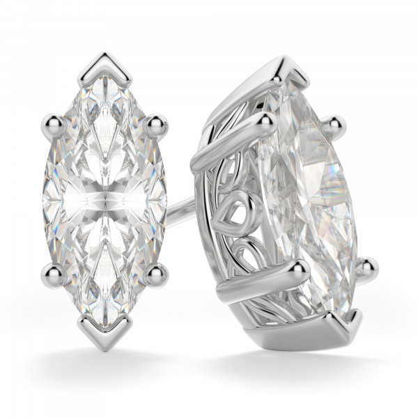 Marquise Cut Stud Earrings, Tension Backs, Filigree Set
