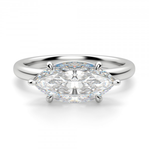 East-West Classic Marquise Cut Engagement Ring