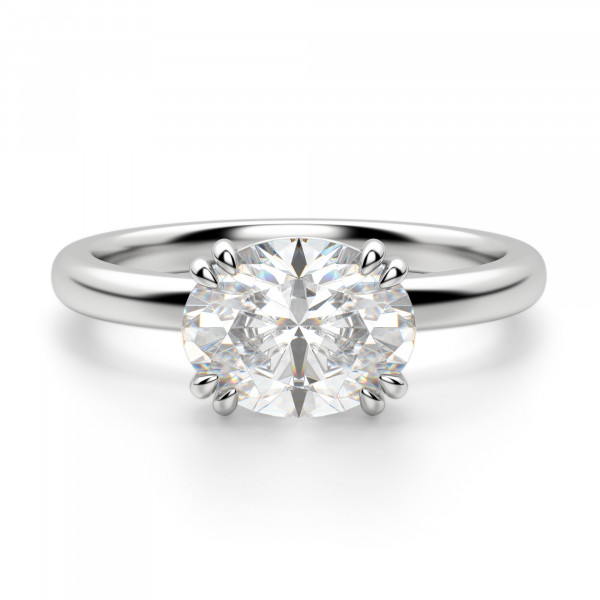 East-West Classic Oval Cut Engagement Ring