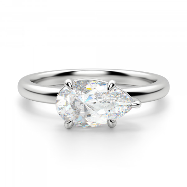 East-West Classic Pear Cut Engagement Ring