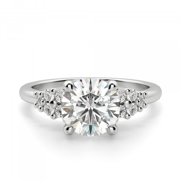 Plumeria Round Cut Engagement Ring