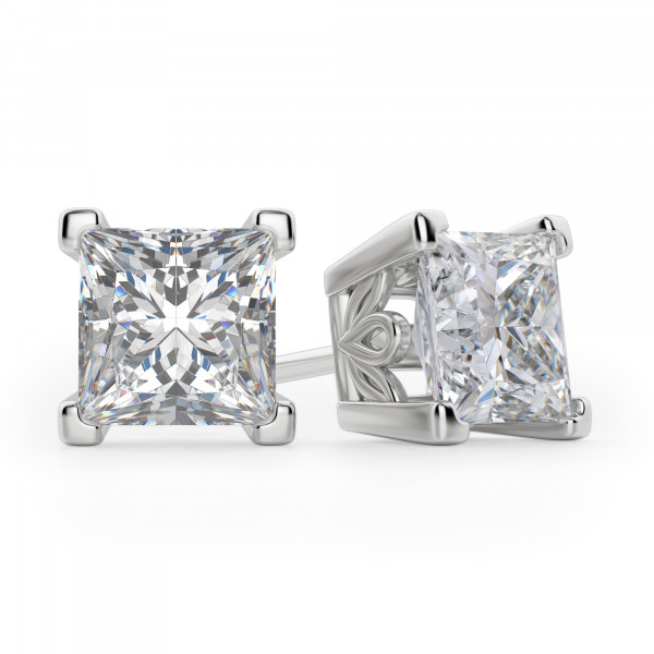Princess Cut Stud Earrings, Tension Back, Filigree Set