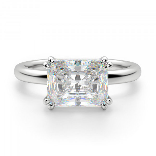 East-West Classic Radiant Cut Engagement Ring