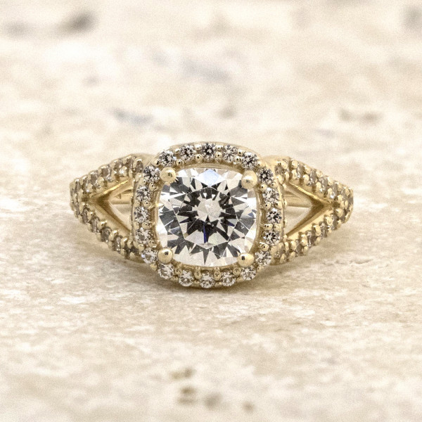 Discontinued Sara Michael with 1.28 carat Cushion Center - 14k Yellow Gold - Ring Size 5.0-6.5