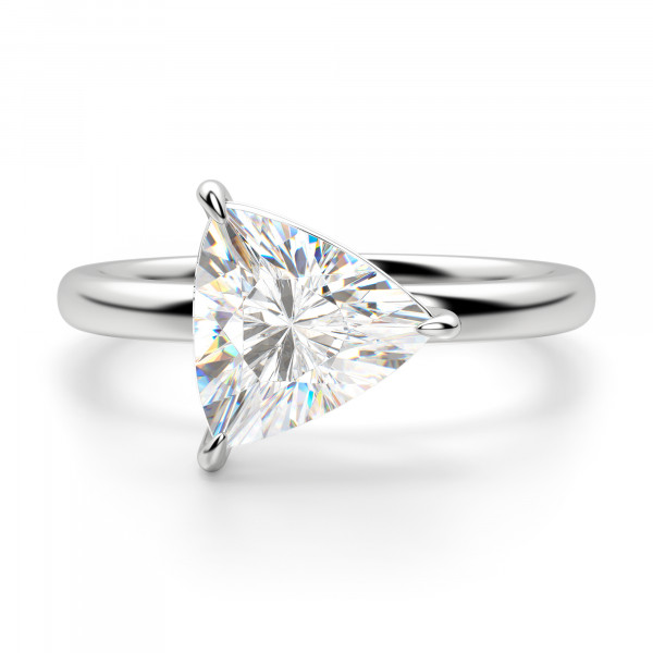 East-West Classic Trillion Cut Engagement Ring