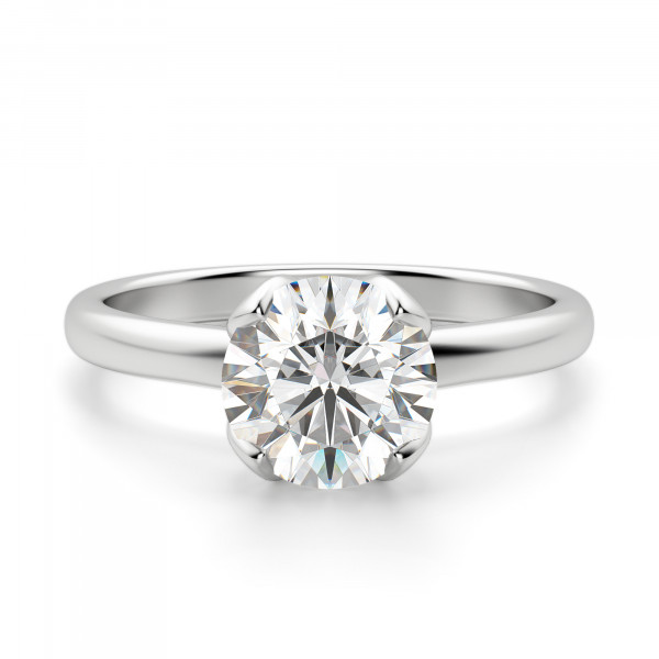 Tulip Set Round cut Solitaire Engagement Ring