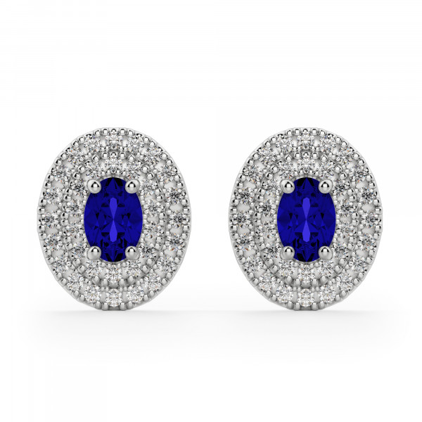 Almeria Oval Cut Sapphire Stud Earrings