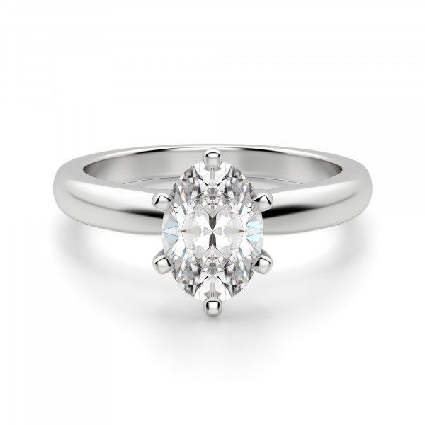 Tiffany-Style 6-Prong Oval Cut Engagement Ring