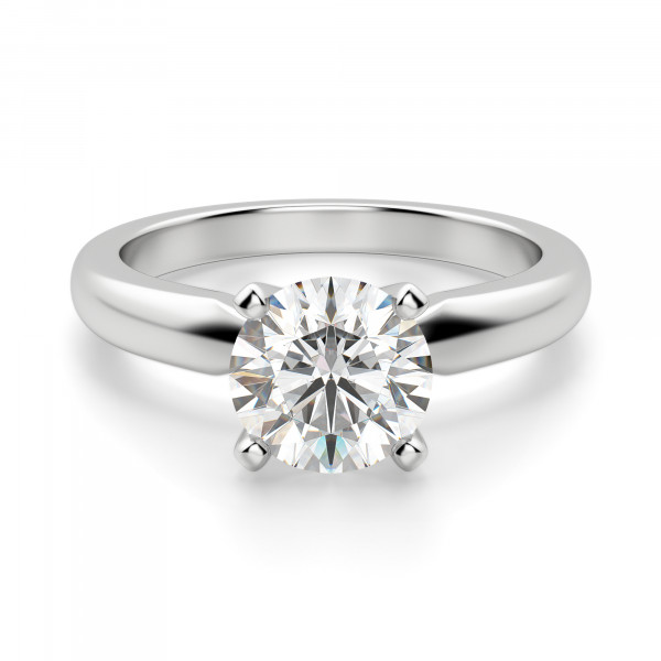 Tiffany-Style Solitaire Round Cut Engagement Ring