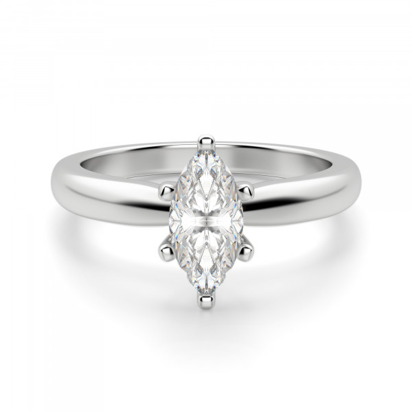 Tiffany-Style Solitaire Marquise Cut Engagement Ring