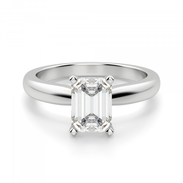Tiffany-Style Solitaire Emerald Cut Engagement Ring