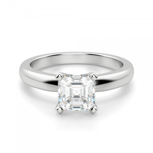 Tiffany-Style Solitaire Asscher Cut Engagement Ring