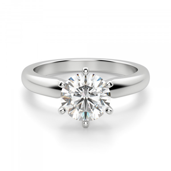 Tiffany-Style 6-Prong Round Cut Engagement Ring