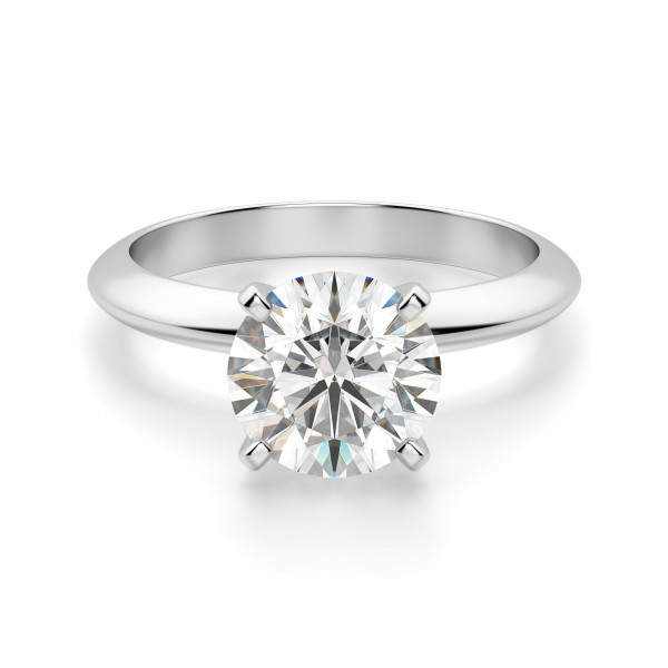 Tiffany-Style Knife Edge 4-Prong Round Cut Engagement Ring