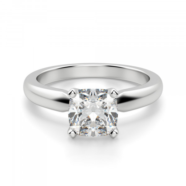Tiffany-Style Solitaire Cushion Cut Engagement Ring