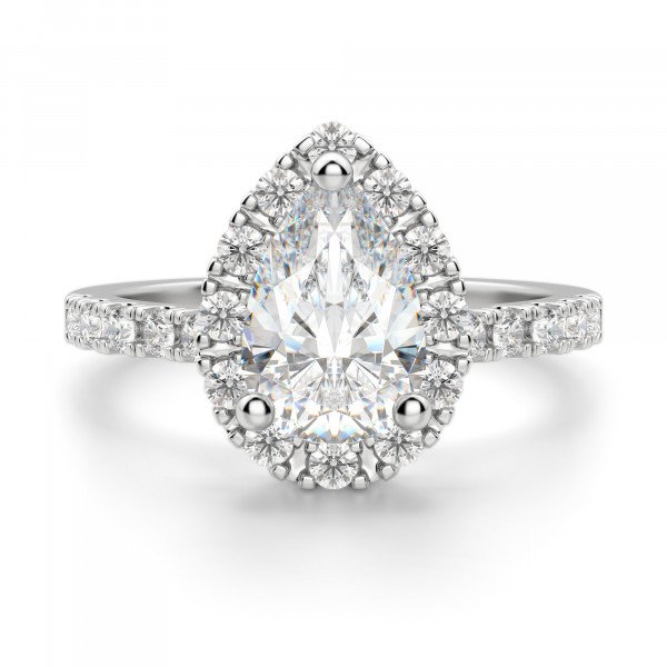 Madrid Accented Pear Cut Engagement Ring