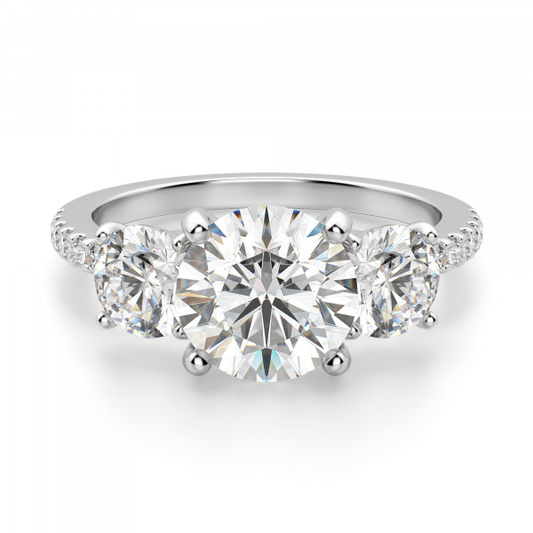 Three Stone Accented Round Cut Engagement Ring