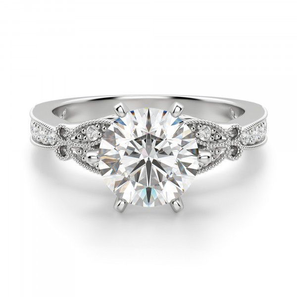 French Quarter Round Cut Engagement Ring