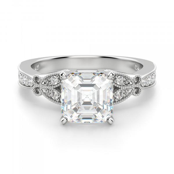 French Quarter Asscher Cut Engagement Ring