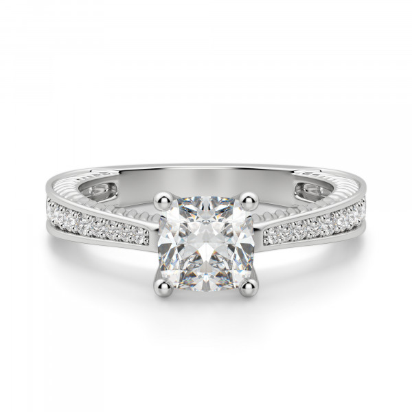 Sage Accented Cushion Cut Engagement Ring