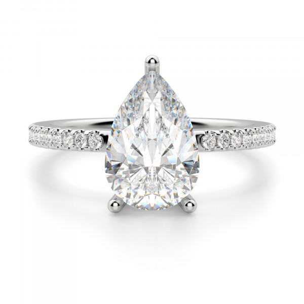 Basket Set 2.61 carat Pear cut Accented Engagement Ring