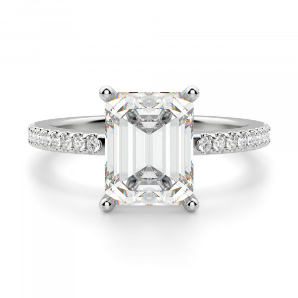 Basket Set 2.62 carat Emerald cut Accented Engagement Ring