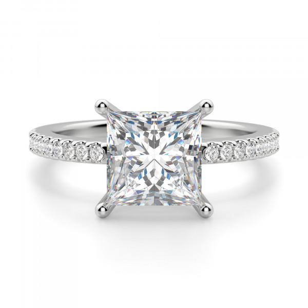 Basket Set 2.01 carat Princess cut Accented Engagement Ring