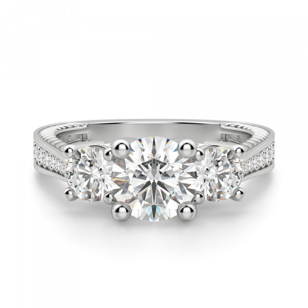 Sage Three Stone Round Cut Engagement Ring