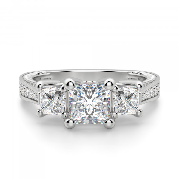 Sage Three Stone Princess Cut Engagement Ring