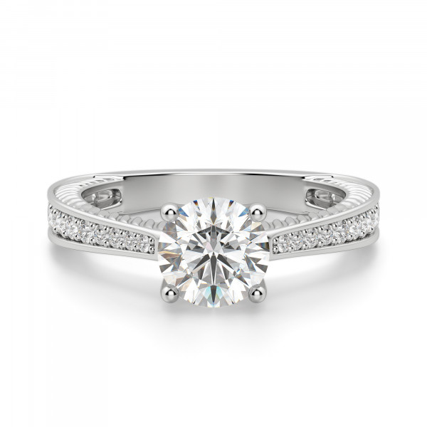 Sage Accented Round Cut Engagement Ring