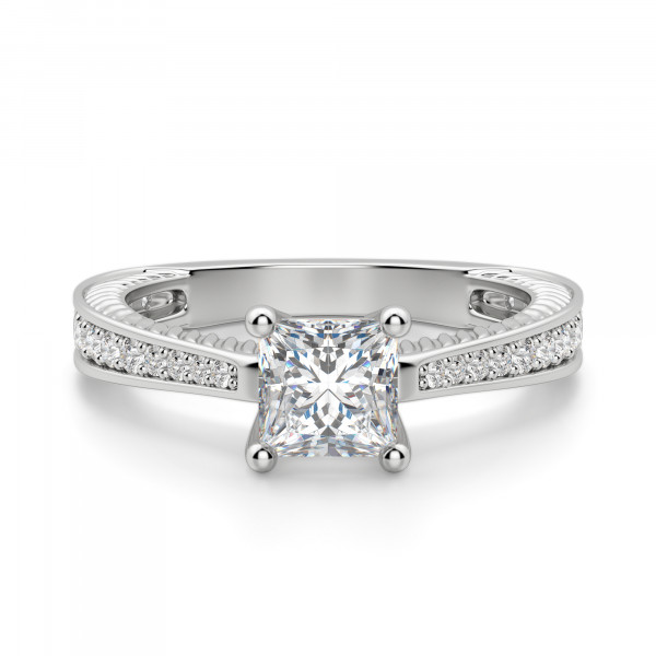 Sage Accented Princess Cut Engagement Ring