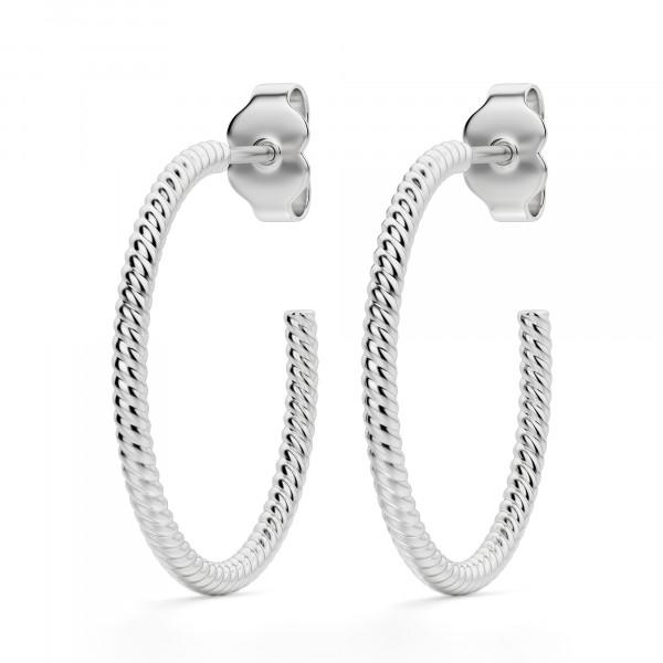 Twisted Rope Hoop Earrings, Sterling Silver