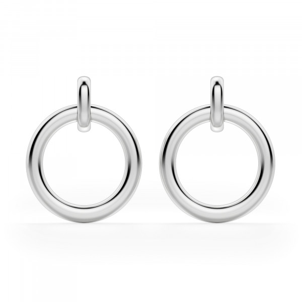 Dangle Hoop Earrings, Sterling Silver