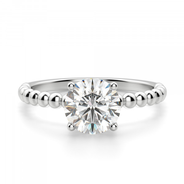 Beaded Band Round cut Engagement Ring