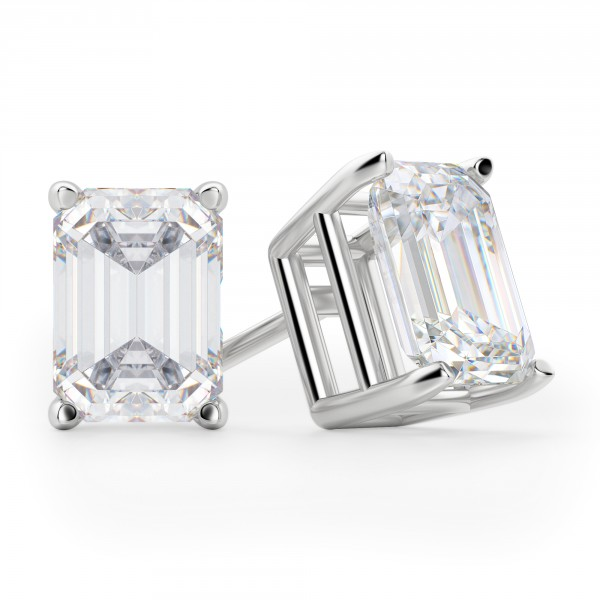 Earrings Clic Stud Emerald Cut Tension Backs Basket Set