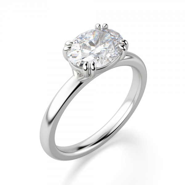 East West Classic Oval Cut Engagement Ring