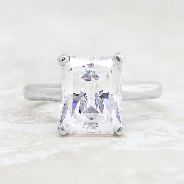 9a1e1a164 Tiffany-Style Solitaire with 2.17 carat Radiant Center - 14k White Gold -  Ring Size 8.0-14.0. 1