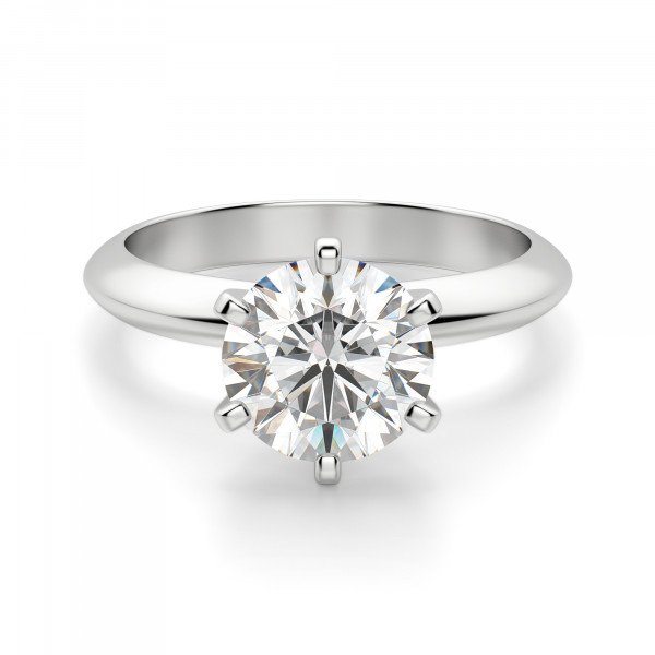 Tiffany Style Knife Edge 6 Prong Round Cut Engagement Ring