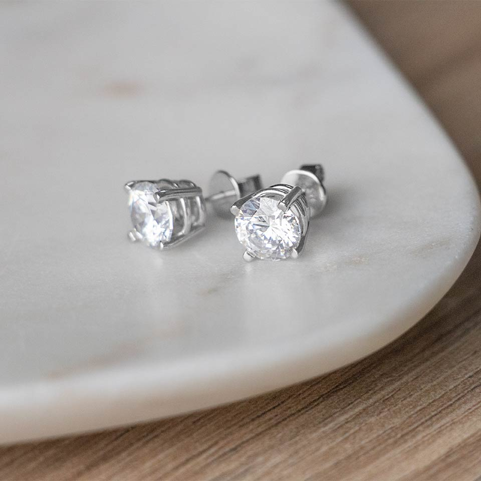 Round Cut Stud Earrings