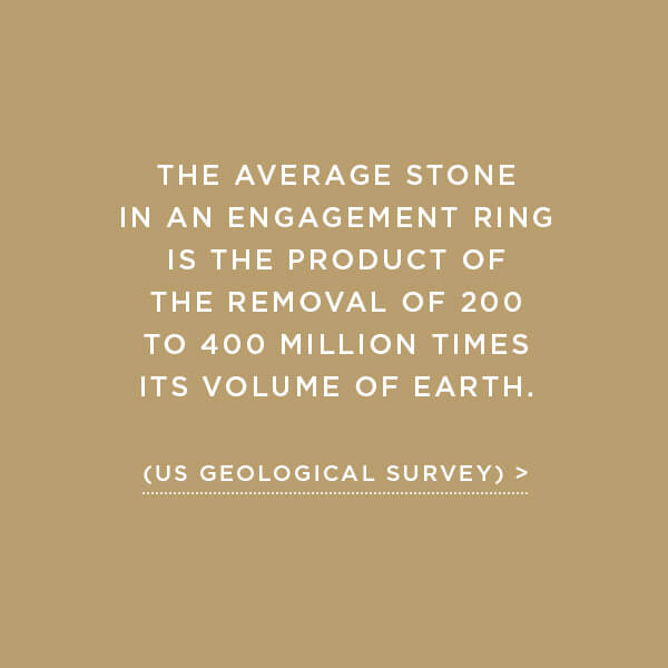 Environmental Impact, Earth Displacement, The average stone in an engagement ring is the product of the removal of 200 to 400 million times its volume of earth. (US Geological Survey)