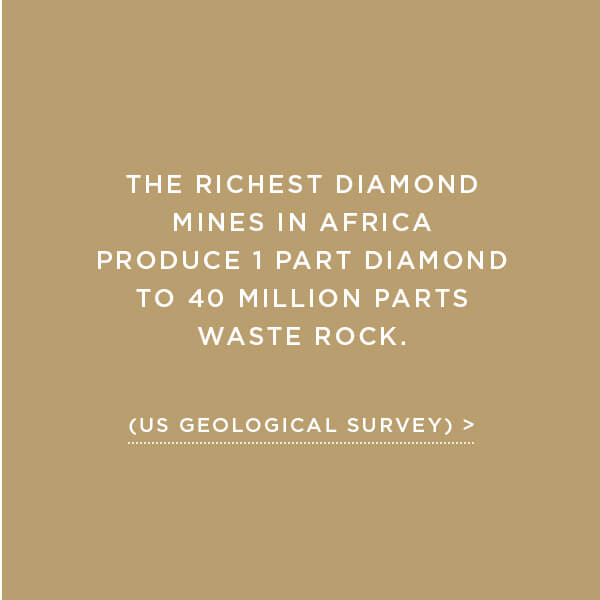 Environmental Impact, Earth Displacement, The richest diamond mines in Africa produce 1 part diamond to 40 million parts waste rock. (US Geological Survey)
