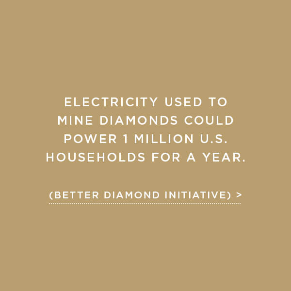 Environmental Impact, Energy Usage, Electricity used to mined diamonds could power 1 million U.S. households for a year. (Better Diamond Initiative)
